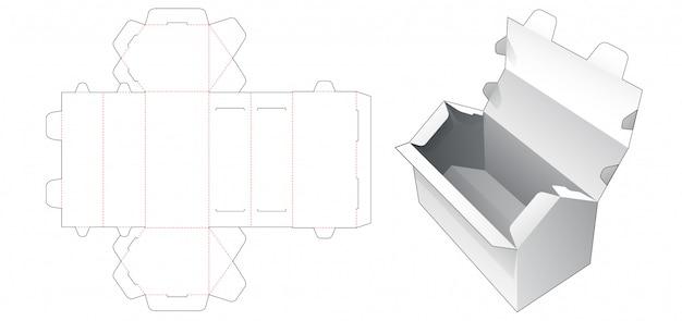 Pudełko w kształcie domu z szablonem wycinanym w górnej części