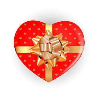 Pudełko w kształcie serca z kokardką i wstążką. realistyczny element projektu.
