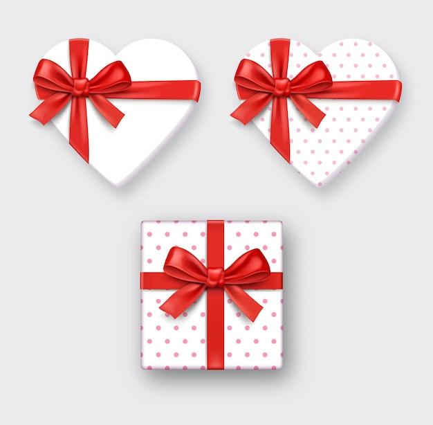 Pudełko w kształcie serca ze wstążką. ilustracje wektorowe.