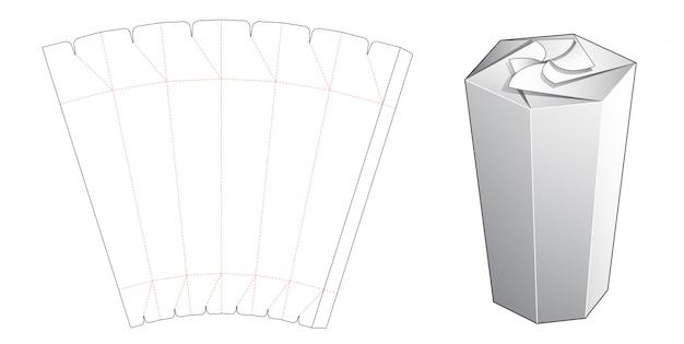 Pudełko w kształcie sześciokąta z szablonem wycinanym od góry z blokadą obrotową