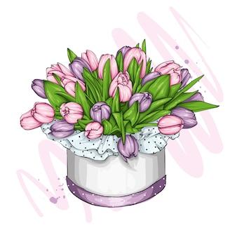Pudełko z bukietem tulipanów. wiosna i kwiaty. 8 marca. ilustracja wektorowa na pocztówkę lub plakat, do druku.