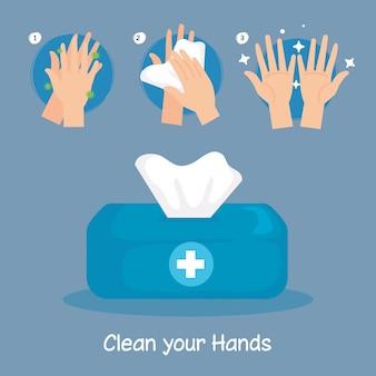 Pudełko z chusteczkami i kroki do mycia rąk