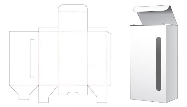 Pudełko z długim i wąskim wycinanym szablonem okienkowym