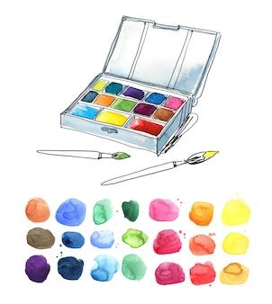 Pudełko z farbami akwarelowymi i pędzlami oraz ilustracja palety kolorów
