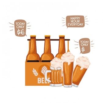 Pudełko z ikoną na białym tle butelek piwa