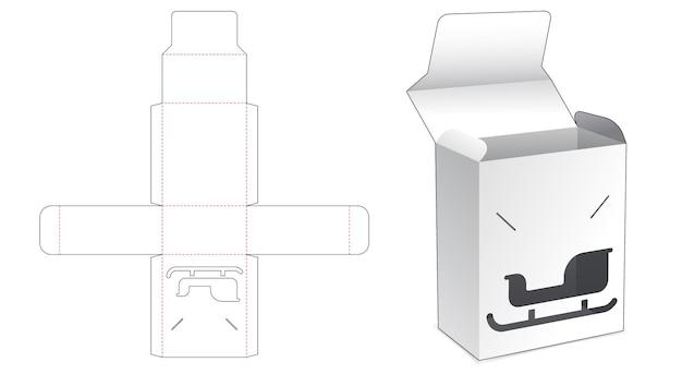 Pudełko z klapką z szablonem wycinanym w oknie sań