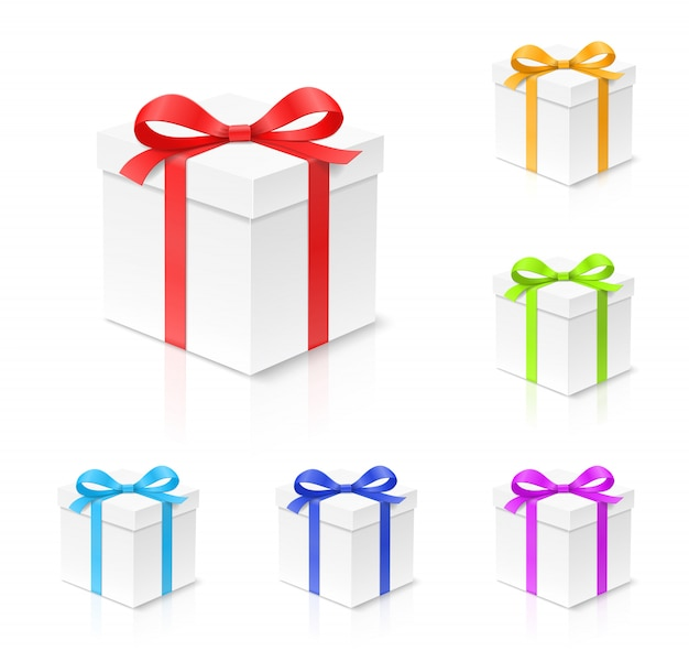 Pudełko z kokardą w kolorze czerwonym, złotym, niebieskim, zielonym i fioletowym, wstążka na białym tle. wszystkiego najlepszego, boże narodzenie, nowy rok, koncepcja pakietu ślubnego. ilustracja zbliżenie