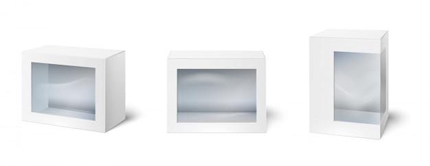 Pudełko z oknem. zaprezentuj opakowania, okna na opakowaniu kartonowym i makieta puste białe opakowania 3d na białym tle wektor zestaw