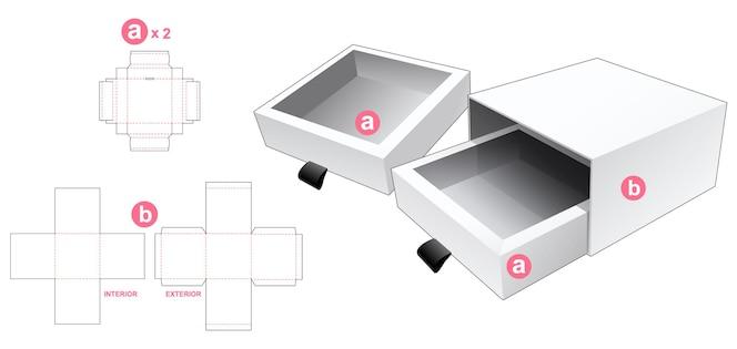 Pudełko z podwójnymi szufladami z szablonem wycinanym na okładkę