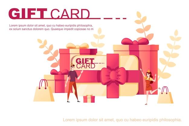 Pudełko z prezentem karty streszczenie miękki kolor wzór z liści na tle płaskie wektor ilustracja na białym tle pozdrowienia karty deisgn poziomy baner.