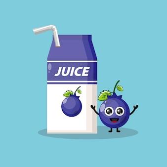 Pudełko z sokiem jagodowym słodka maskotka postaci
