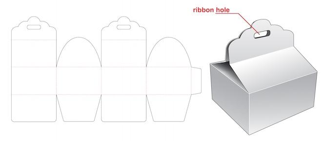 Pudełko z szablonem wycinanym na wstążce