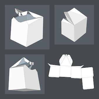 Pudełko z szablonem wycinanym. pudełko do pakowania na żywność, prezent lub inne produkty. na białym tle odizolowywającym. gotowy na twój projekt. eps10 wektor opakowania produktu.