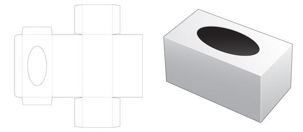 Pudełko z szablonem wycinanym w kształcie elipsy