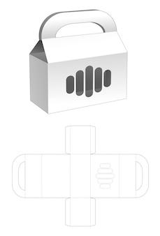 Pudełko z tekturowymi uchwytami z szablonem wycinanym w oknie