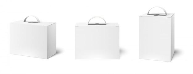 Pudełko z uchwytem. makieta pudeł pakunkowych, puste białe uchwyty do pakowania i kartonowe opakowanie 3d zestaw ilustracji