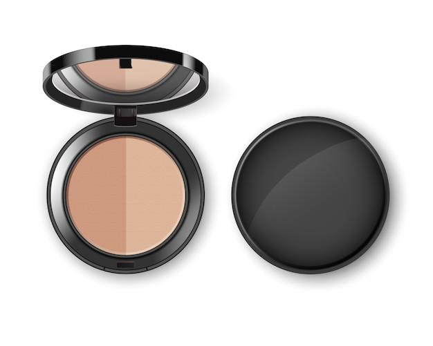 Puder kosmetyczny do makijażu twarzy w czarnym okrągłym plastikowym pudełku z lustrzanym widokiem z góry na białym tle