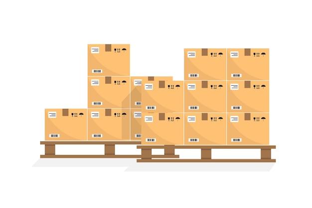 Pudła kartonowe na palecie drewnianej. różne pudełka na widok z przodu stosu magazynu. pudełka na drewnianej palecie ilustracji wektorowych. pakowanie ładunku. dostawa. pudełko do pakowania w karton