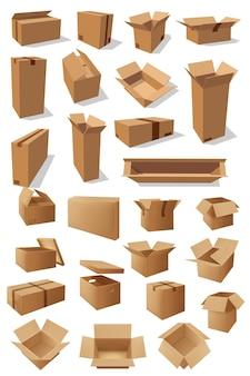 Pudła kartonowe, paczki do pakowania towarów izolowane puste pojemniki transportowe kartonowe.