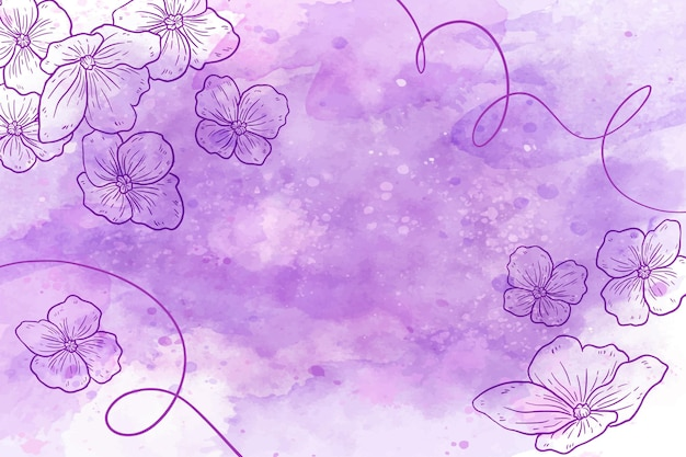 Pudrowa pastelowa tapeta z elementami botanicznymi