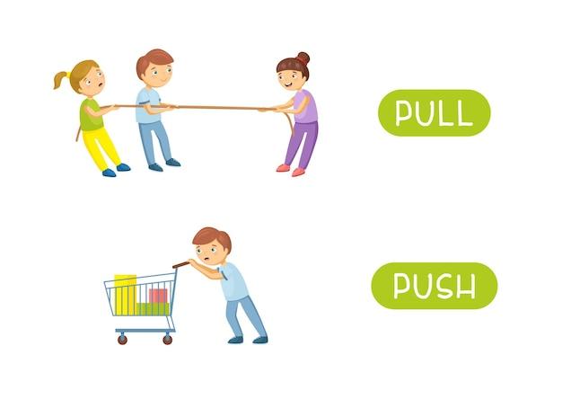 Pull and push - antonimy i przeciwieństwa.