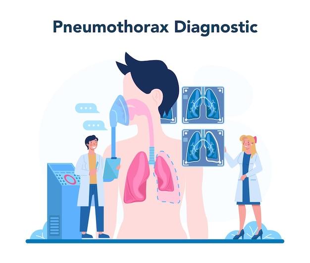 Pulmonolog. idea zdrowia i leczenia. zdrowy układ oddechowy. leczenie i diagnostyka odmy opłucnowej. ilustracja na białym tle wektor