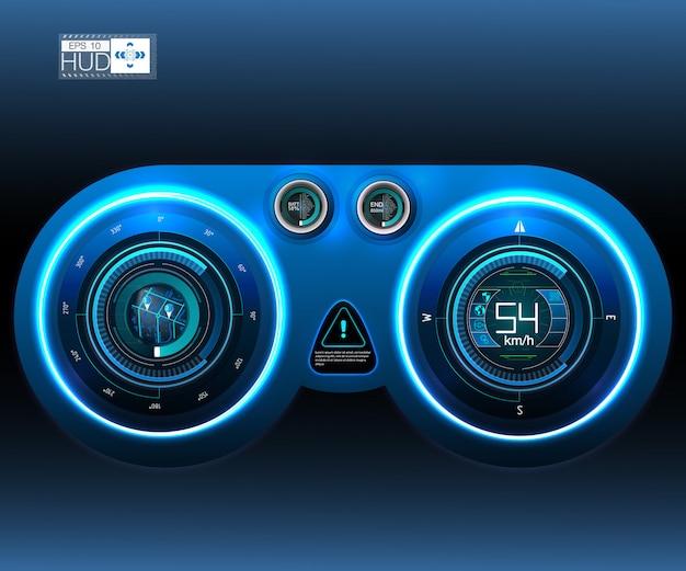 Pulpit nawigacyjny hud samochodu. abstrakcjonistyczny wirtualny graficzny dotyka interfejs użytkownika. futurystyczny interfejs użytkownika hud i elementy infographic.