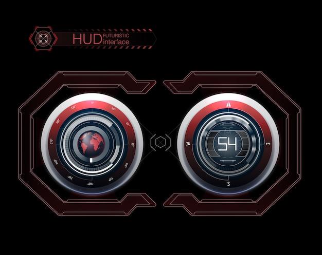 Pulpit nawigacyjny hud. streszczenie wirtualny graficzny interfejs użytkownika dotykowy. futurystyczny interfejs użytkownika hud i elementy infografiki.