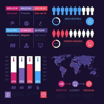 Pulpit nawigacyjny infografiki. ogólnoświatowe diagramy marketingowe, zestaw wykresów. ilustracja plansza biznes wykres i schemat