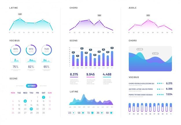 Pulpit nawigacyjny interfejsu użytkownika. nowoczesna plansza z wykresami finansów gradientu, statystykami i schematami kolumn. analiza wektorowego raportu internetowego