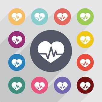 Puls serca, zestaw ikon płaski. okrągłe kolorowe guziki. wektor