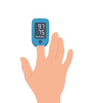 Pulsoksymetr na palcu. cyfrowe urządzenie do pomiaru nasycenia tlenem.