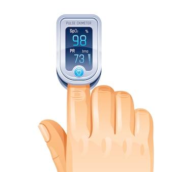 Pulsoksymetr, urządzenie medyczne na palec.