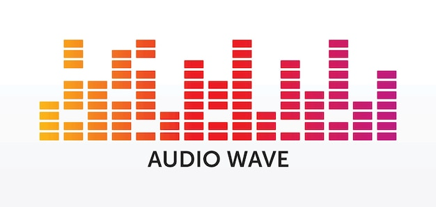 Pulsujący odtwarzacz muzyczny. kolorowe logo fali dźwiękowej. element korektora wektorowego