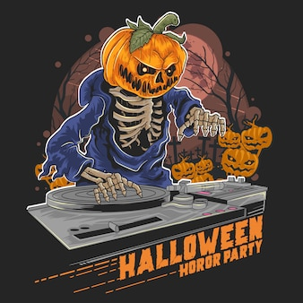 Pumpkin head halloween dj in music party