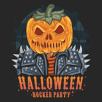 Pumpkin head rocker halloween artwork