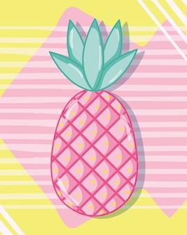 Punchy pastelowy ananasowy wektorowy ilustracyjny graficzny projekt