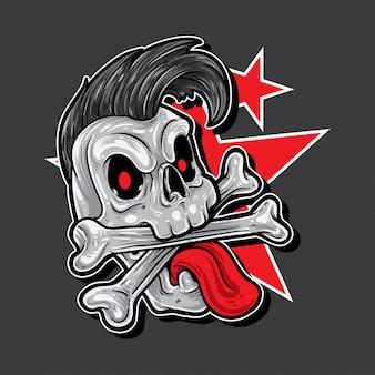 Punk cartoon skull