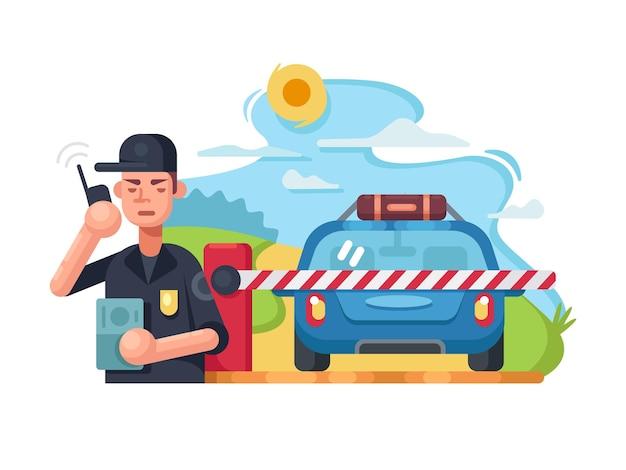 Punkt kontrolny policji drogowej. samochód patrolowy na blokadzie drogowej. płaskie ilustracji wektorowych