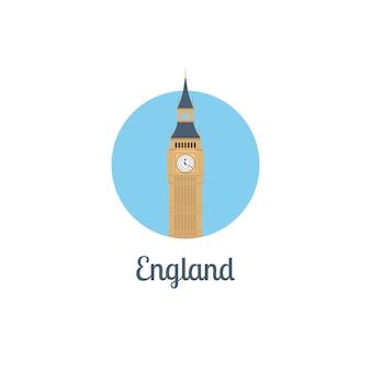 Punkt orientacyjny anglii na białym tle okrągły ikona