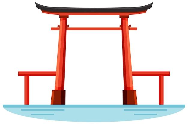 Punkt orientacyjny bramy torii w sanktuarium shinto w japonii