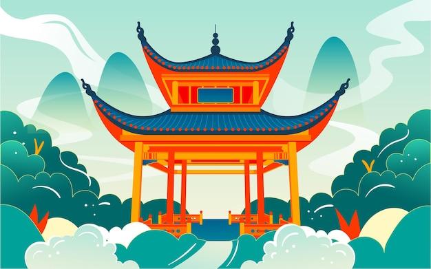 Punkt orientacyjny changsha love evening pavilion ilustracja starożytnych chińskich atrakcji architektonicznych