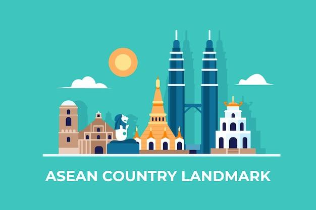 Punkt orientacyjny kraju asean i niebo
