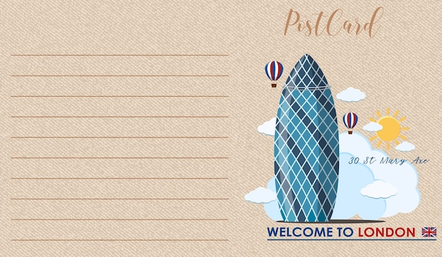 Punkt orientacyjny londynu na pocztówce z brązowego rocznika papieru