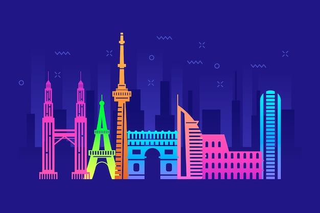 Punkt orientacyjny panoramę w kolorowe pojęcie
