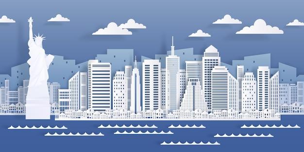 Punkt orientacyjny papieru w nowym jorku. widok na panoramę miasta usa, nowoczesny pejzaż w stylu origami.