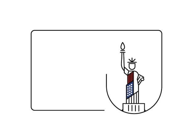 Punkt orientacyjny usa statua wolności. patriotyczna ilustracja wektorowa ameryki