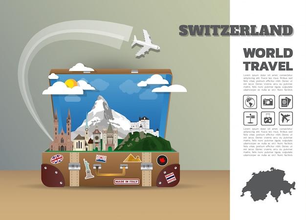 Punkt orientacyjny w szwajcarii global travel and journey infograficzny bagaż. szablon projektu / ilustracja.