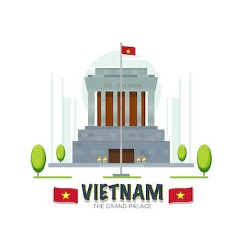 Punkt orientacyjny wielkiego pałacu w wietnamie.