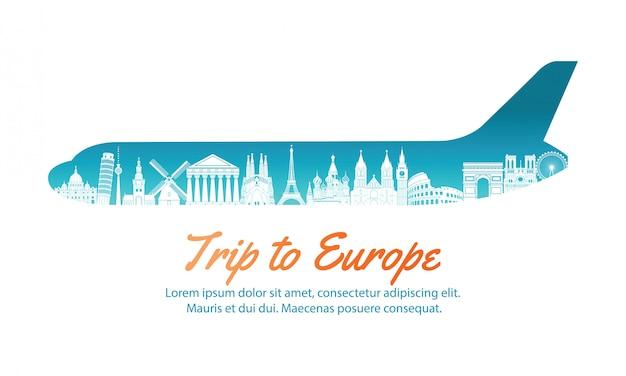 Punkt zwrotny europy wewnątrz w kształcie samolotu, koncepcja sztuki